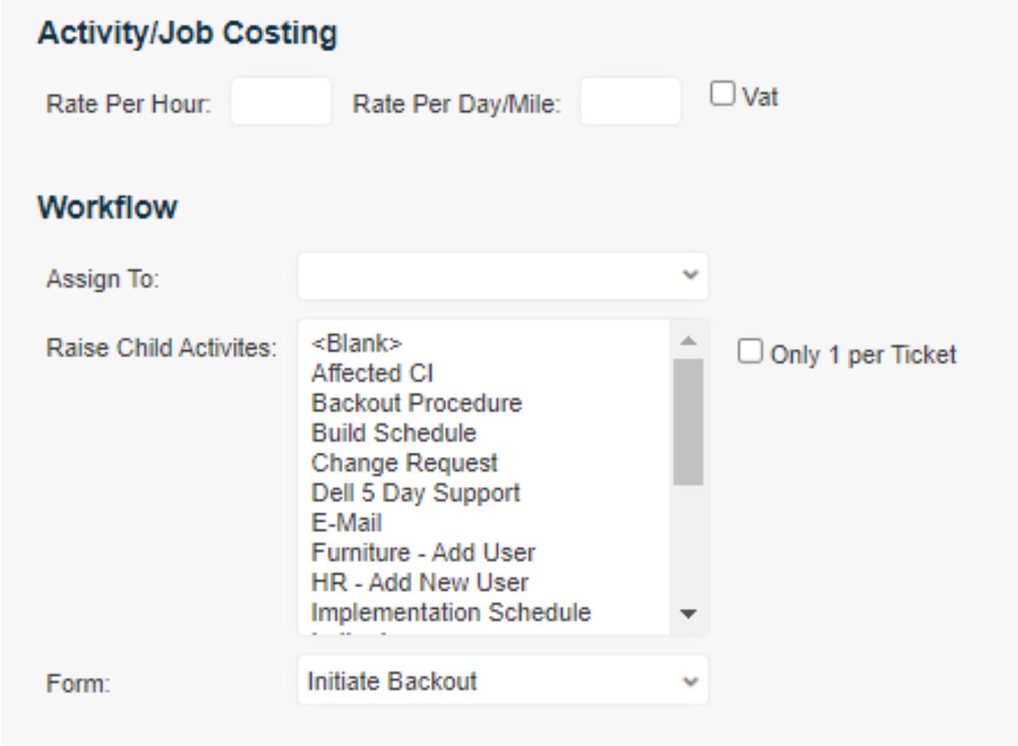 activity / job costing