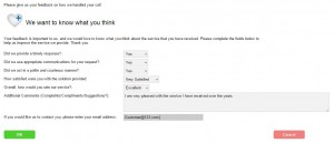 Create feedback forms to collect Customer Satisfaction survey results