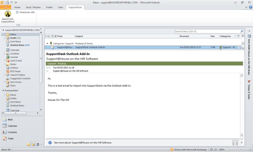 Exceptional Outlook Help Desk AddIn HouseontheHill Service Desk Software   Microsoft  Service Desk Solution Design Ideas
