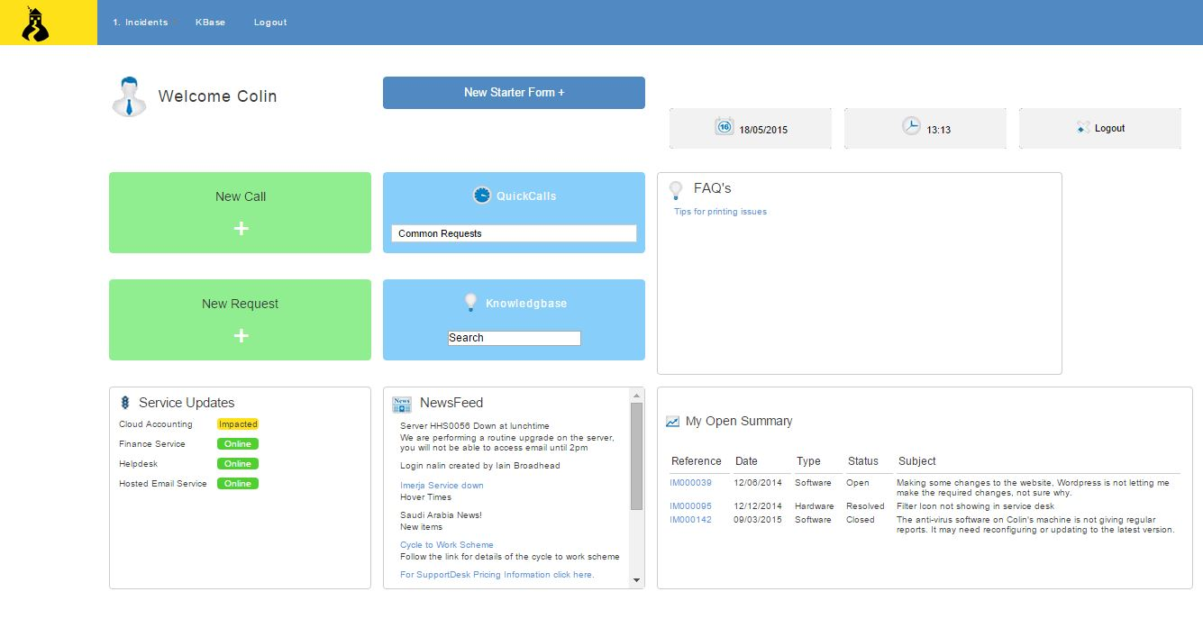 Helpdesk dashboard customer