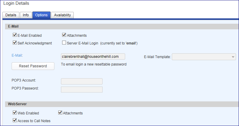 hosted email login details pane