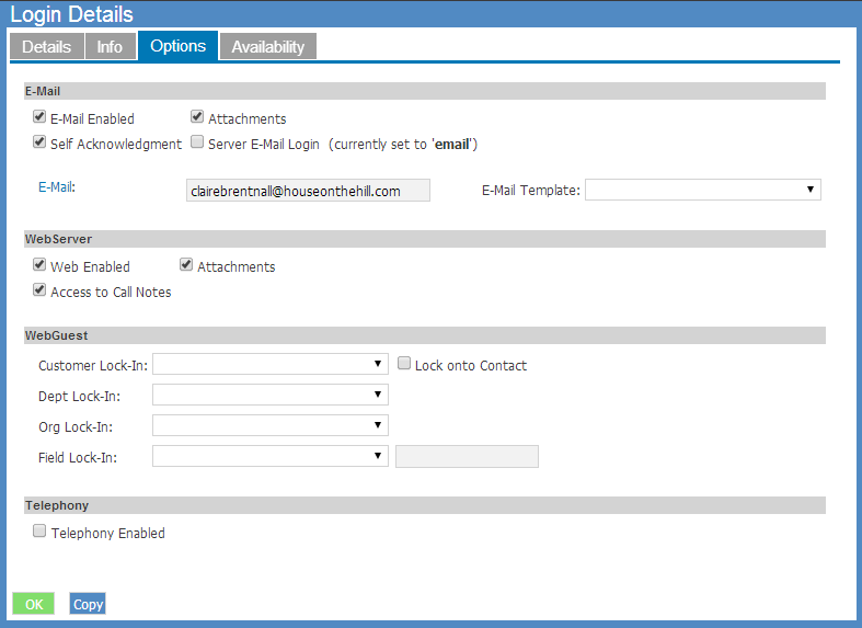on-site email login details pane