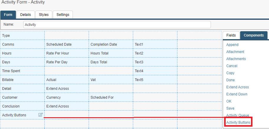 activity form buttons widget