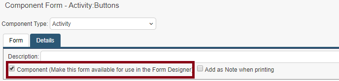 activity form component selector
