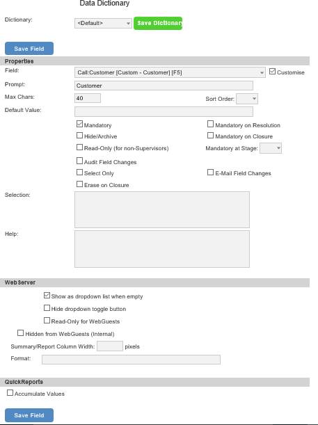 data dictionary form