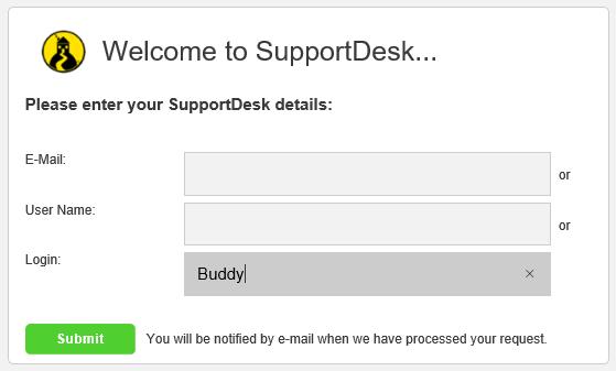 enduser forgot password enter credentials screen