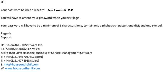 enduser password reset email