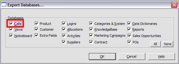 export calls page