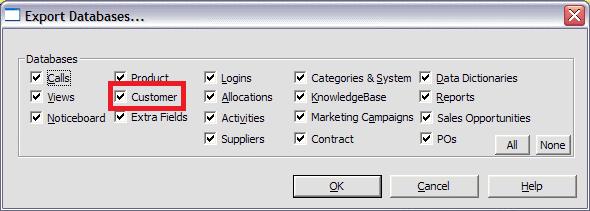 exporting customers window
