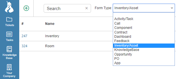form type drop-down menu