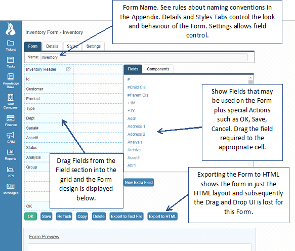 inventory form designer
