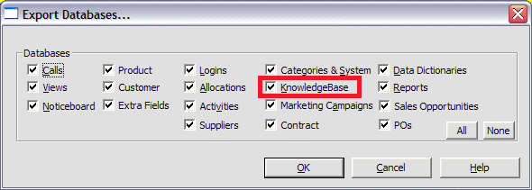 windows knowledgebase export pane