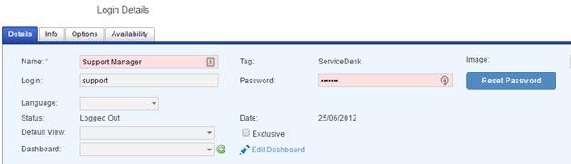 logins details tab