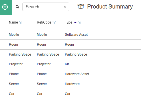 product summary page