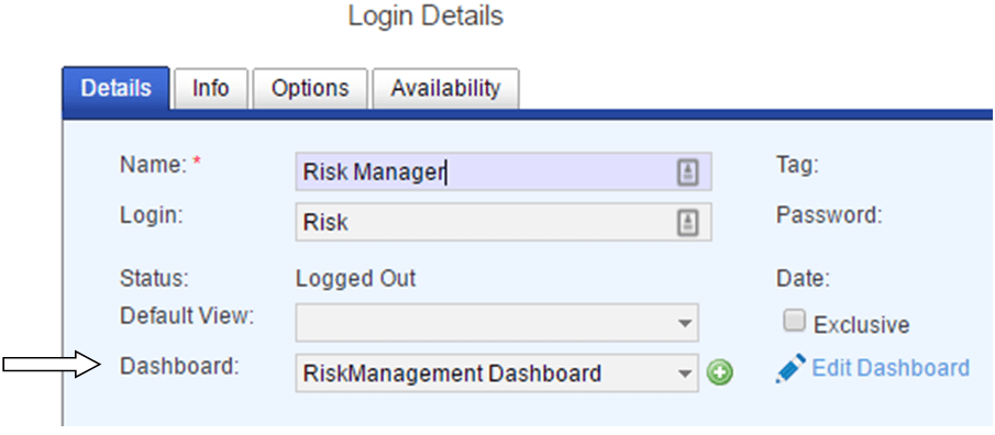 report dashboard login details