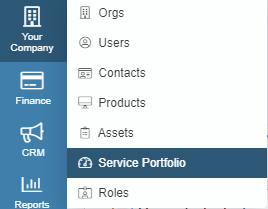 service portfolio dropdown menu