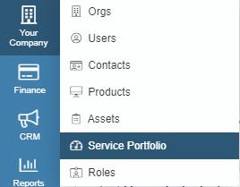 service portfolio dropdown menu