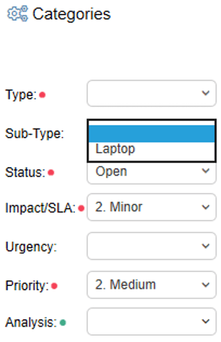 subtype dropdown
