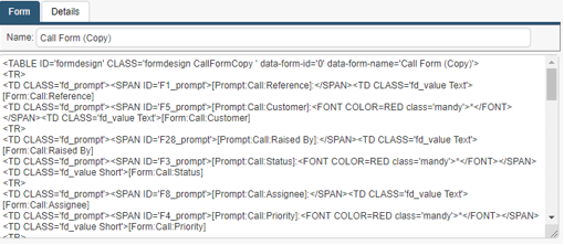 call form html export