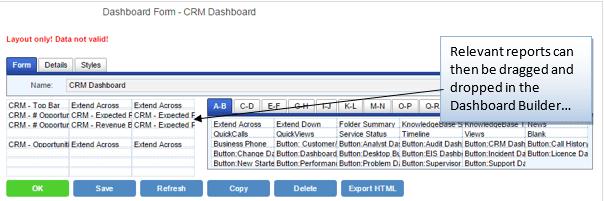 crm dashboard drag n drop designer