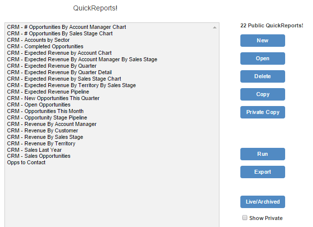 crm report template list