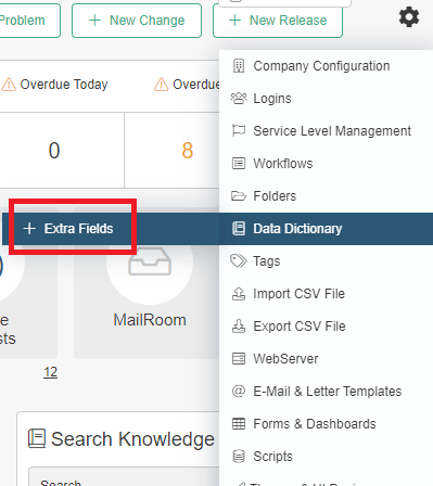 extra fields drop-down menu