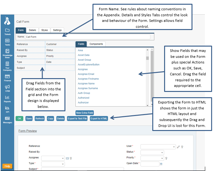 call form field example