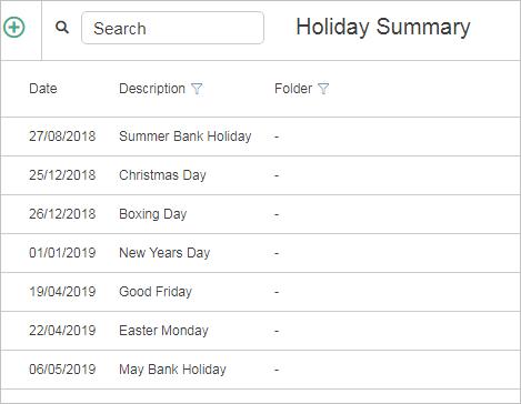 holiday summary