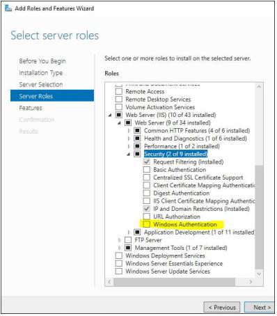windows authentication selector