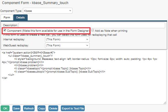knowledgebase component form details tab