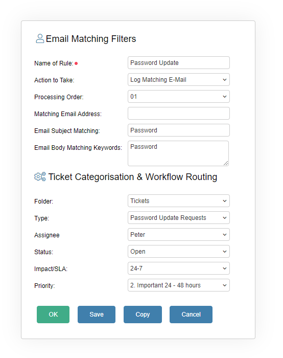 Email Matching Filter Form